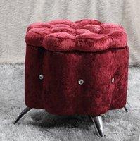New madeira + sofá fezes Cristal, fezes mudança sapato, tecido de flanela sênior e multifuncional, sala de mobiliário de luxo, sofá de armazenamento