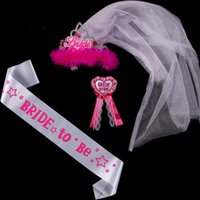 Wholesale retail white satin bride to be tiara sash badge sets for bachelorette party and Hen Party brides party