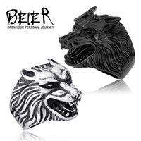Wholesale One Piece Drop Ship Fashion Jewelry Super Cool Wolf Rings Stainless Steel Punk Biker Man Ring BR8 US size