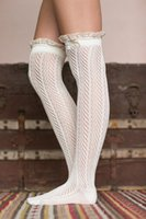 Wholesale leg Warmers for Women Kint Lace Trim Boot Cuffs with Bottom Boho Boot Socks Lace Cuffs Women s Accessory