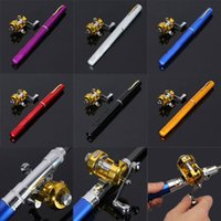 telescopic fishing rod - Mini Portable Pocket Fish Telescopic Pen Aluminum Alloy Fishing Rod Pole Reel