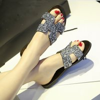 Wholesale New women s summer ladies Top quality rhinestone Designer beach sandals female slippers Flip Flops plus size