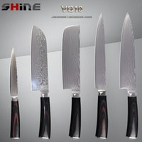 best cook tops - SHINE brand damascus knives top quality color wood handle VG10 stainless steel set kitchen knives best gift for cooking