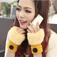 Wholesale 2014 Winter New Arrival Women s Fashion Warm Fingerless Knitting Woolen Rabbit Gloves Color AT045