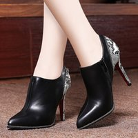 Wholesale The new autumn shoes leather women s shoes of England pointed leisure deep mouth fine with high heels
