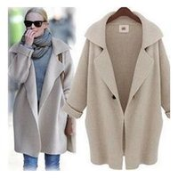 Wholesale New winter coats big brand high quality Authentic fashion loose pure color knit women s coat lapels WF