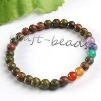 Wholesale Charm natural unakite precious stone Round Shape Beads Stone chakra healing Bracelets Jewelry Gift