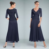 tea length mother of the bride dresses with sleeves - New Arrival Dark Navy Tea Length Mother of the Bride Dresses with Sleeve A Line V Neck Ruched Chiffon Modest Groom Wedding Party Gowns