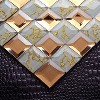 Wholesale Jasmine crystal glass mosaic wall tile backdrop mirror puzzle Continental stickers affixed bar entrance