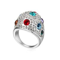 Wholesale Austrian Crystal Rings Multicolor Crystal White Gold Plated Rings For Women made with Swarovski Elements k Wedding Bridal Jewelry