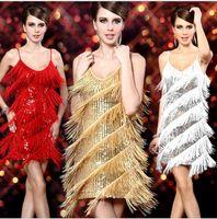 Latin Dance Dress Para lentejuelas mujeres vestidos de rendimiento Salsa Etapa vestido de los trajes Rumba / Samba / salón / borla de Bailes de Salón de cóctel