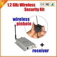 Wholesale Wireless Pinhole A V PAL NTSC Mini Camera kit Ghz Surveillance CMOS Security Monitor with Video Audio Receiver TVL