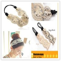 embroidery hoops - hot Lace crochet headband hair bows Hair accessories Gold silk knitting lace hair band Hair hoop hair embroidery lace Headbands