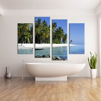 abstract sea paintings sale - 4 Panel boat on the sea paints vertical oil paintings for sale Wall painting print on canvas for home decor pictures art Unframe