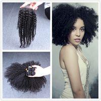 Cheap kinky curl  closure with bundles Best Malaysian Hair 10