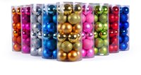 Wholesale 4cm Christmas Balls Tree Decorations Colorful set Gold Silver Red Rose Red Green Purple Blue Lake Blue Brozne Pink Colors