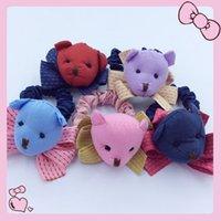 Wholesale Christmas Gift Bear Hairband Children Hair Sticks Clip Fabrics Mix Color Girls Hairpins Children s Hair Accessories Six Colors