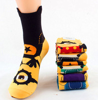 ankle high hosiery - High Quality Despicable me Minion women sock cartoon In tube socks new Fashion lady cotton Three dimensional Hosiery colors gift