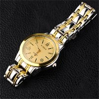 mens gold watches - New Mens Stainless Steel Watch Fashion Metal Quartz wrist watches for Women Unisex luxury watches Geneva Crystal Watches Gold watches