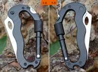 Cheap Multi-Function Outdoor Carabiner Mountaineering Climbing Buckle Survival Knife Hook Screwdriver ECT Camping tools