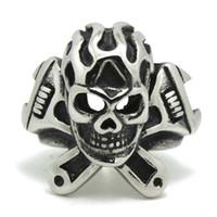 skull ring - Motorcycles Spanner Skull Biker Ring Silver L Stainless Steel Cool Biker Silver Skull Ring