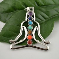 beads figures - 10pcs Meditating Figure Healing Chakra Stone Point Beads Pendant Charms Jewelry Fit Necklace