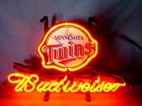 basketball twins - TWINS BASKETBALL BUDWEISER REAL GLASS TUBE NEON BEER BAR WALL SIGN GAMEROOM CLUB GARAGE