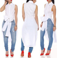 Wholesale summer style women chiffon blouse streetwear long white black blue bow female casual sleeveless chiffon shirt blouse