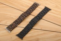 Wholesale Ebony Wood Link Bracelet Stainless Steel Butterfly Clasp Wooden Natural Wrist Watch Strap With Adapters For Apple Watch Band iWatch MM DHL