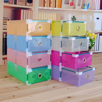 plastic drawer storage box - Nice Hardcover Drawer Colorful Shoebox Transparent Crystal PP Plastic Storage Box waterproof Box for Household Home Use
