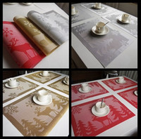 pvc table cloth - 4psc set PVC Christmas elk Placemat Waterproof Kitchen Dinning Placemats Coffee Cup Mats Table Mats Table Cloth