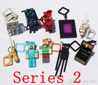 Wholesale 10pcs set cm Minecraft Hangers Series My World Key Pendant Toy Minecraft Creeper Figure Backpack Keychain Clip