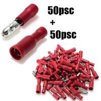 Wholesale 100pcs Pairs Fully Female Male Insulated Bullet Terminals Electrical Crimp Connector Assortment Kit mm Red