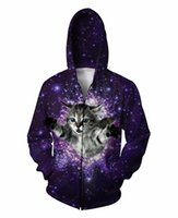 Cheap Glitter Zip-Up Hoodie Kitten 3D Print Cat Galaxy Space Nebula Sport Tops Jumper Women Men Zipper Outfits Sweatshirts Coats