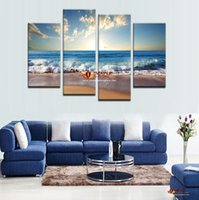 modern painting decorative - 4Pcs Large Canvas Art Wall Hot Beach Seascape Modern Wall Painting Home Decorative Art Picture Paint On Canvas Prints Pictures