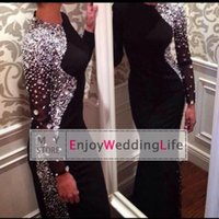 pink jersey - New Sexy Long Sleeves Black Jersey Mermaid Evening Dresses Beaded Crystals Floor Length Prom Gowns