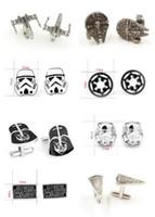 Wholesale 300pcs fashion designs star Wars Cufflinks Cuff Links Cartoon Jedi Knight Darth Vader Novelty Cufflinks Jewelry Cuff Links D526
