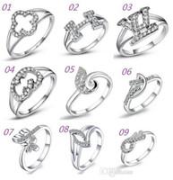 2015 Nueva ley 925 de la manera del anillo de la joyería de plata con la mujer de cristal de 18 quilates anillo del trébol de oro anillos