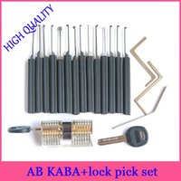 ab locks - kaba dimple lock picks set with AB kaba transparent cutaway view of practice lock for beginner professional locksmith supplies