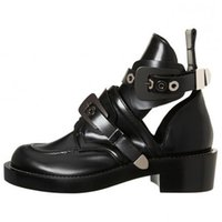 ankle riding boots - Hot Buckle Cutout Flat Black Genuine Leather Women Motorcycle Boots Ankle Boots Shoes Riding Gladiator Booties