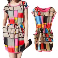 Wholesale Hight Quality Women Fashion Summer Dress Chiffon Multicolor Plaid Dresses Geometric Polka Print Casual Mini Dresses