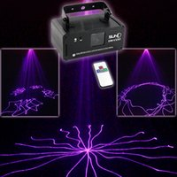 Projecteur projecteur laser party Prix-Nouveau Mini Portable IR Remote 8 CH DMX Purple 150mW Laser Scanner Stage Lighting PRO DJ Party LED Show Projecteur Lights DM-V150