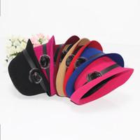 Wholesale 2015 New Wool Doom Bowler Hat Spring Winter Soft Warped Brim Caps Fashion Rabbit Fur Ball Bow Fedoras Top Hats Cap For Womens Ladies Girls