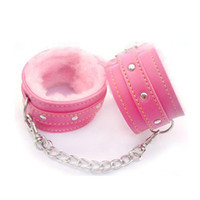 adult valentines gifts - Pink Soft Furry Steel Fuzzy Fur Wrist Handcuffs Dress Valentines love Gift Toy Adult Games Sex Toys