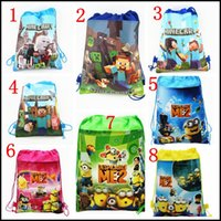 Wholesale 2015 NEW Minecraft Minions Despicable Me storage bag Kids Cartoon backbag drawstring bags Children School Bag MOQ free ship SVS0540