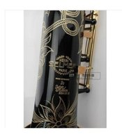 b flat sound - EMS France Selmer soprano Sax integral pipe wind B flat black paint gold sound carved