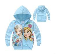 Wholesale 6PCS Blue Frozen Zipper Long Sleeved Hooded Sweatshirts Children Hoodies Sweater Frozen Winter Hoodies Cartoons Hooded Coat