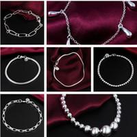 Wholesale Vintage Sterling Silver Bracelet Jewelry snake bone beads Bangles Bracelets For Women Silver Jewelry