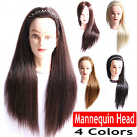 Wholesale 22 quot Mannequin Head Hair Yaki Synthetic Maniqui Hairdressing Doll Heads Cosmetology Dummy Heads Women Hairdresser Manikin Sale