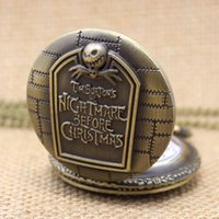 Unisex mens pocket watches - New Vine Bronze Tim Burtons Nightmare Before Christmas Quartz Pocket Watch Mens Womens Necklace Chain Pendant P004